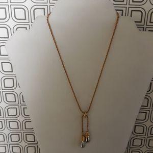 Napier Gold chain & silver dual teardrop necklace